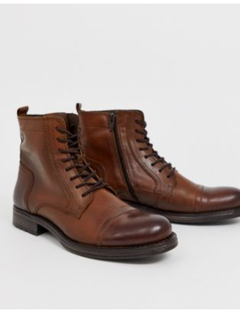 Jack &Amp; Jones   Leren Laarzen Met Veters In Bruin by Jack & Jones