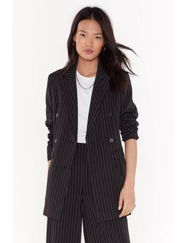 Unfinished Business Pinstripe Double Breasted Blazer by Nasty Gal