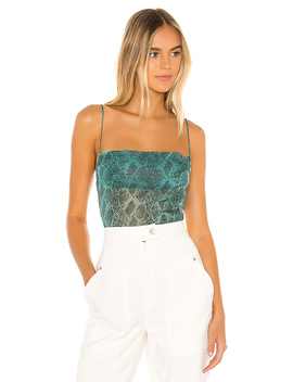 Becca Square Neck Top In Teal Snake by Superdown