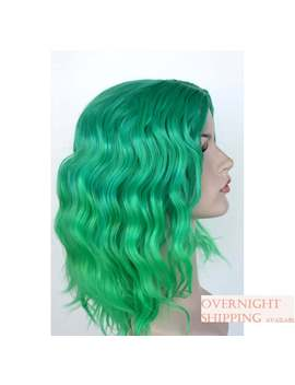 Perfect Green Ombre Wavy Wig. Green Shoulder Length Hair. Green Wig. Ready To Ship. Women's Costume Wig. by Etsy