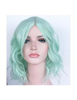 Light Green Wavy Wig. Pastel Green Shoulder Length Hair. High Quality Wig. Party Wig For Women. Ready To Ship. by Etsy