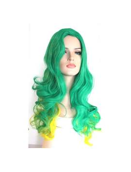 Green Yellow Ombre Long Curly Wig. Halloween Party Costume Wig. Ready To Ship. by Etsy