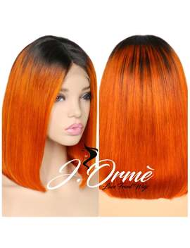 Ombre Orange Color Lace Frontal Human Hair Wigs Brazilian Remy Hair Straight Short Bob Wigs With Baby Hair   Orange Hair Bob Style by Etsy