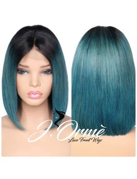 Ombre Color Teal Green Lace Frontal Human Hair Wigs Brazilian Remy Hair Straight Short Bob Wigs With Baby Hair   Teal Green Hair Bob Style by Etsy