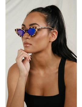 Hit Me Up Leopard Print Mirrored Cat Eye Sunglasses by Lulus