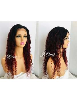 "Beautiful Ombre Red 99 J Wet N Wavy 100% Human Hair Lace Front Wig 4x4 Closure Wig 20""   Fire Red Lovely Wet Wavy Style Wig by Etsy"