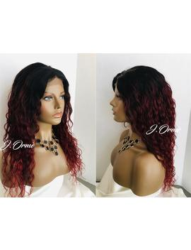 "Gorgeous Ombre Red Wet N Wavy 100% Human Hair Lace Front Wig 4x4 Closure Wig 20""   Long Lovely Wet Wavy Style Wig by Etsy"