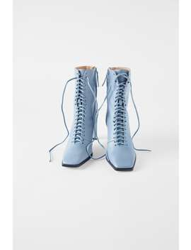 Lace Up Leather High Heel Ankle Boots View All Shoes Woman by Zara