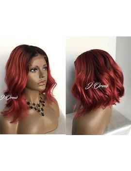 Messy Bob Trendy  Human Hair 1b/99 J Radiant Red Ombre Asymmetric Bob Lace Front Human Hair Wig Deep Red Human Hair Wig by Etsy