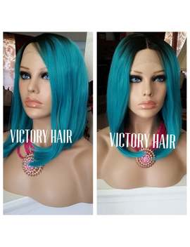 Short Blue Dark Root Lace  Front Wig. Human Hair Blend.As Pictured. by Etsy