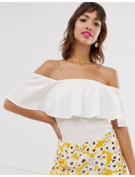 Ichi Ruffle Bardot Top by Top