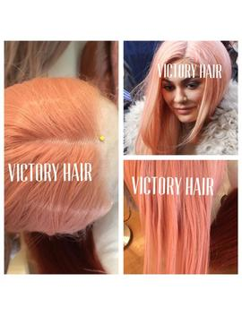 Celebrity Mix Coral Pink Kylie Jenner . Straight  Lace Front Wig. Human Hair Blend by Etsy