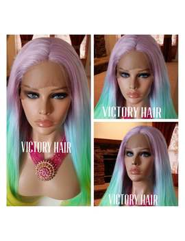 Rainbow Pink Blue Yellow Swiss Lace  Front Wig. Human Hair Blend by Etsy