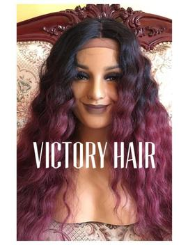 Burgundy Wavy Lace Front Wig. Human Hair Blend by Etsy