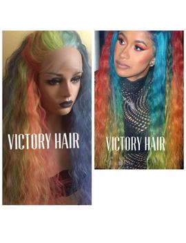 Cardi B Celebrity Inspired: Colored Blue Red Pink Purple Blue Lace Front Wig. Long Rainbow Wavy Human Hair Blend. Comfortable Cap. by Etsy