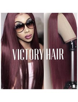 High Quality Straight Burgundy Lace  Front Wig. European Silky Human Hair Blend. Various Lenght Available. by Etsy