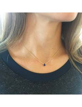 Sapphire Necklace, Real Sapphire, September Birthstone, Geniune Sapphire, Dainty Necklace, Tiny Sapphire, Layering Necklace by Etsy