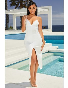 Split The Bill Satin Split Leg Midi Dress In Oyster White by Oh Polly