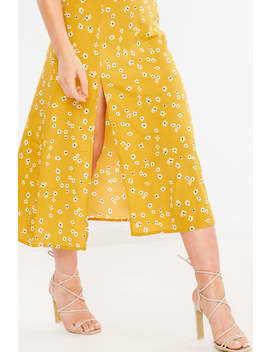 Yellow Floral Split Front Midi Dress by In The Style