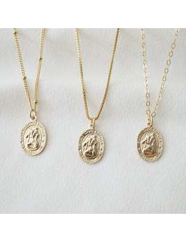 Traveler's Gold Coin Medallion Necklace (St Christopher Spiro) // 14 K Gold Filled // Gold Coin Jewelry // Religious Jewelry by Etsy