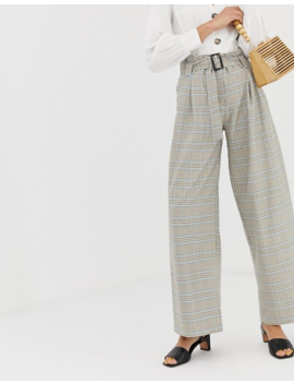 River Island High Waisted Wide Leg Pants In Check by River Island