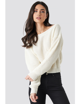 Knitted Slash Neck Jumper Hvid by Lasula