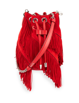 Marie Jane Suede Fringe Bucket Bag by Christian Louboutin