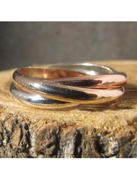 Tri Color Rolling Ring, 14k Rose And Yellow Gold Filled And Argentium Sterling Fidget Ring by Etsy