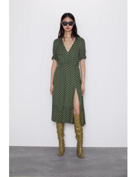 Polka Dot Print Dress With Slit View All Dresses Woman by Zara