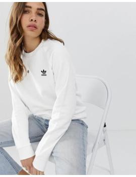 Adidas Originals – Essential – Vit Sweatshirt Med Rund Halsringning by Adidas