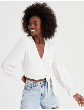 Ae Long Sleeve Wrap Front Top by American Eagle Outfitters
