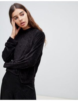 Weekday – Svart Sweatshirt I Velour by Weekday