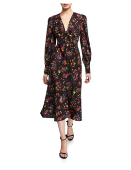 Amber Long Sleeve Floral Tie Front Midi Dress by Veronica Beard