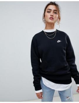 Nike – Club – Svart Sweatshirt Med Rund Halsringning by Nike