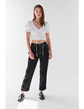 Lioness Ruffle Tie Front Cropped Top by Lioness