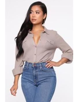 Not Changing Button Down Top   Taupe by Fashion Nova