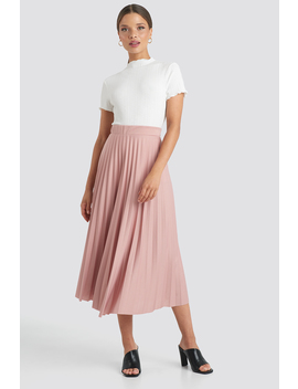 Midi Pleated Skirt Lyserød by Trendyol