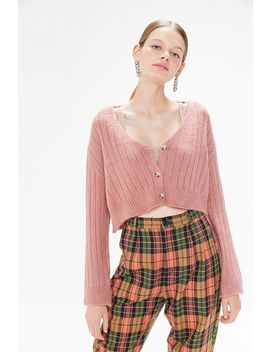 Uo Cindy Ribbed Cropped Cardigan by Urban Outfitters