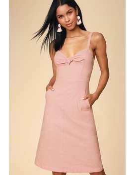 Ain't No Other Light Coral Chambray Midi Dress by Lulus X Lush