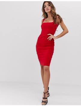 Vesper Square Neck Pencil Dress In Red by Vesper