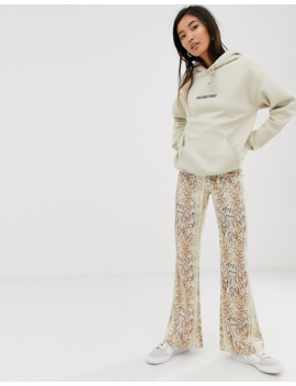Weekday Jersey Flared Trousers In Snake Print by Weekday