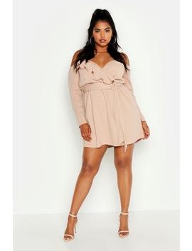 Plus Plunge Ruffle Wrap Long Sleeve Dress by Boohoo