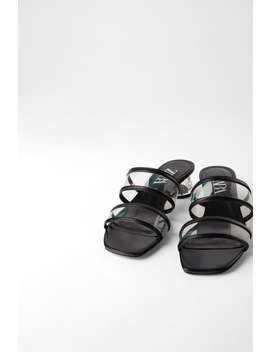 Methacrylate And Vinyl Strappy Sandals Heeled Sandals Shoes Woman by Zara