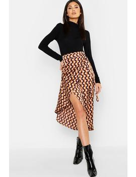 Geo Print Satin Wrap Midaxi Skirt by Boohoo