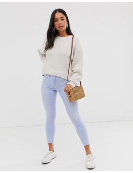 New Look Rib Crew Neck Jumper In Cream by New Look