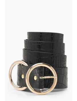 Plus Double Ring Faux Croc Belt by Boohoo