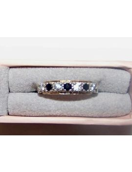 Art Deco 9 Ct Gold And Silver Half Eternity Ring Size M 1/2 White & Blue Stones by Ebay Seller