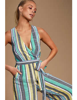 Evanston Teal Green Multi Striped Culotte Jumpsuit by Lulus
