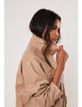 Tan Faux Leather Drawcord Jacket by Missguided