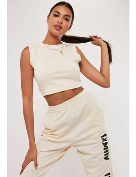 Sand Sleeveless Crop Vest Top by Missguided